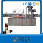 מכונת מילוי נוזל בקבוק סיבובי אוטומטית עם מכסה